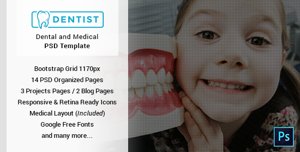 Dentist - Dental & Medical One Page PSD Template