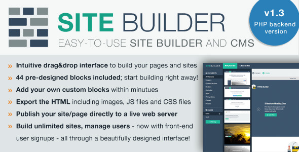 SiteBuilder Lite - Drag&Drop site builder and CMS - CodeCanyon Item for Sale