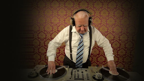 Very Funky Elderly Grandpa Dj Mixing Records 56