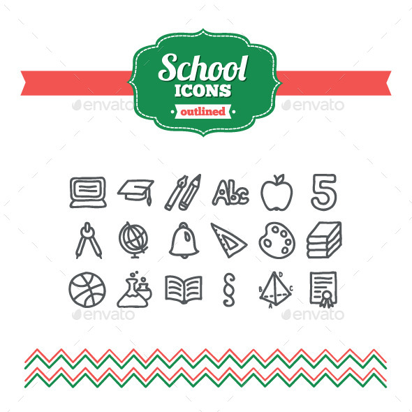 GraphicRiver Hand Drawn School Icons 10733558