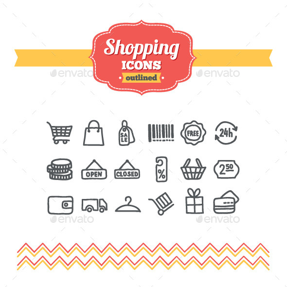 GraphicRiver Hand Drawn Shopping Icons 10733808