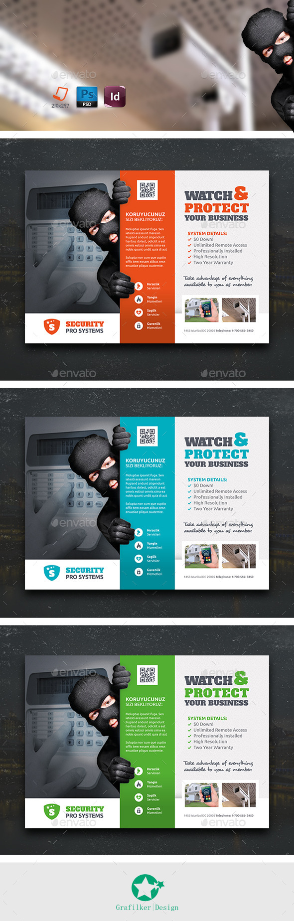 GraphicRiver Security Systems Flyer Templates 10733902