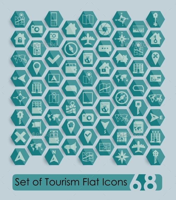 GraphicRiver Set of Tourism Flat Icons 10734169