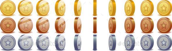 GraphicRiver Spinning Coins 10734203