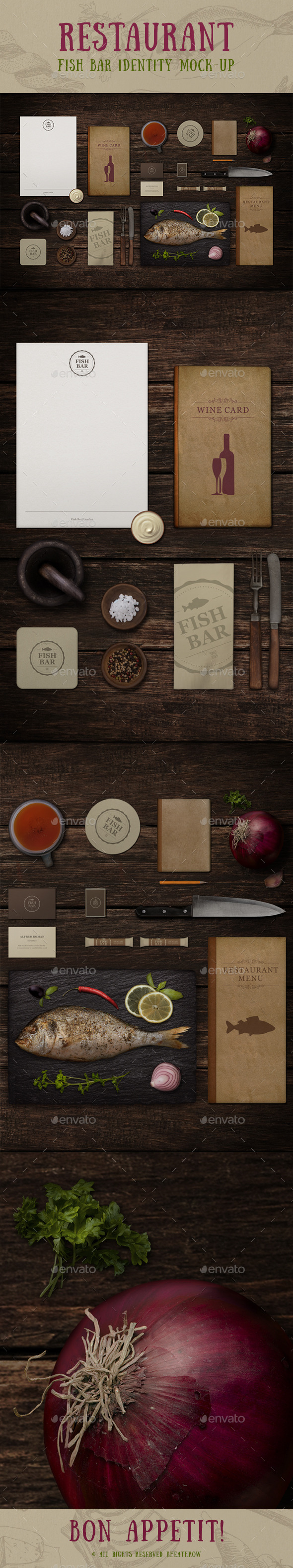 GraphicRiver Restaurant Fish Bar Identity Mock-up 10734264