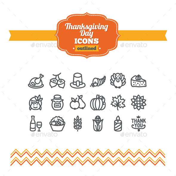 GraphicRiver Hand Drawn Thanksgiving Day Icons 10734525