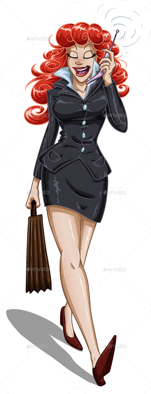 GraphicRiver Business Woman Walks and Talks on Cellphone 10734572