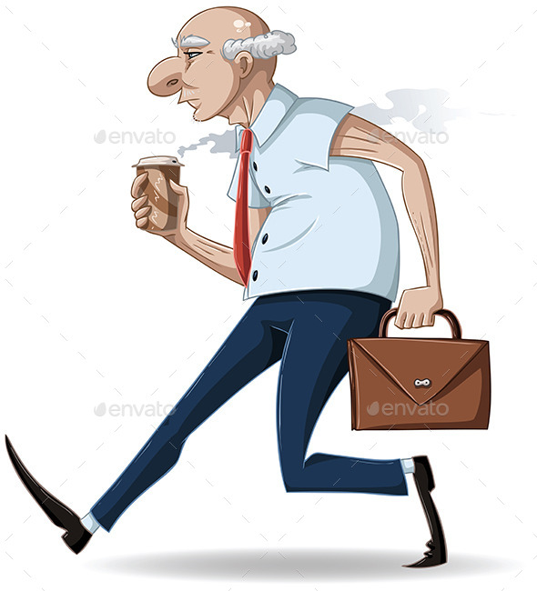 GraphicRiver Old Businessman Walks with Briefcase and Coffee 10734578