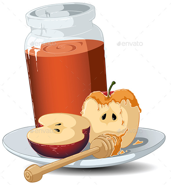 GraphicRiver Rosh Hashanah Honey Jar and Apples 10734605