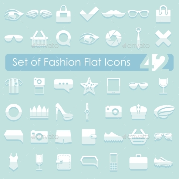 GraphicRiver Set of Fashion Flat Icons 10734656