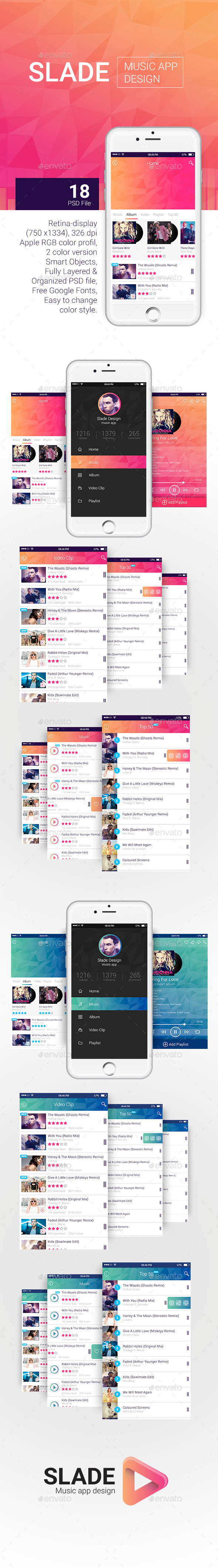 GraphicRiver Slade Music App Design 10698722