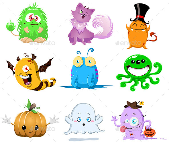 GraphicRiver Halloween Monsters Pack 10734858