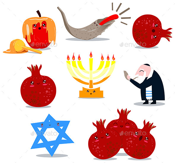 GraphicRiver Rosh Hashanah Symbols Pack 10734875