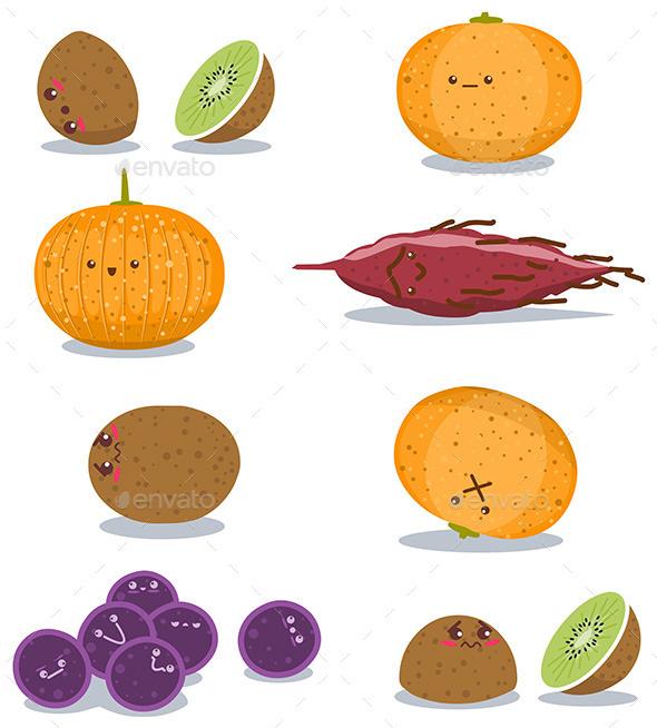 GraphicRiver Funny Fruits Fun Pack 10734882