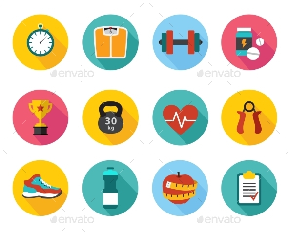 GraphicRiver Vector Icons in Flat Style Healthy Sport and Train 10735046