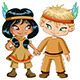 Indian Boy and Girl Holding Hands For Thanksgiving - GraphicRiver Item for Sale