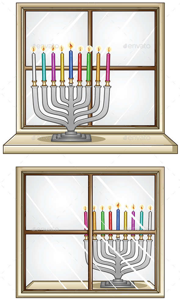 GraphicRiver Hanukkiah on a Window 10735096