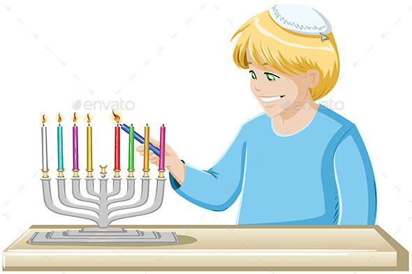 GraphicRiver Boy Lights A Hanukkiah Candle 10735112