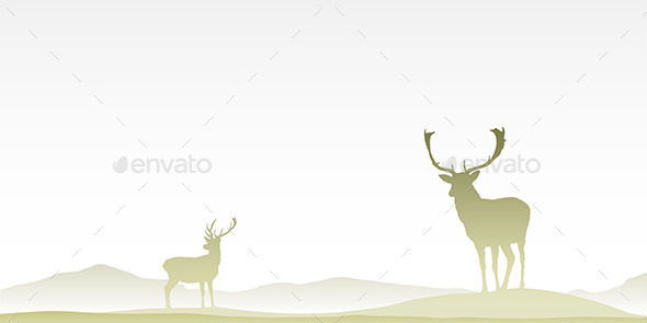 GraphicRiver Two Male Stag Deers 10735113