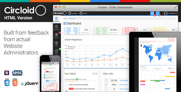 ThemeForest Circloid Responsive Admin Dashboard Template 10735127