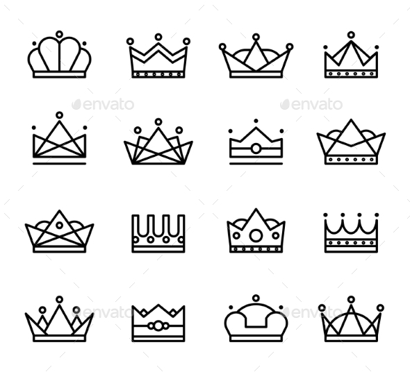 GraphicRiver Vector Black Crown Icons Set 10735341