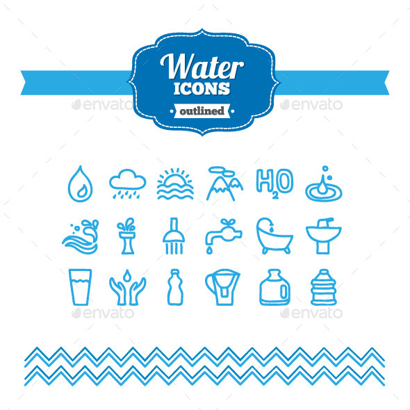 GraphicRiver Hand Drawn Water Icons 10735351