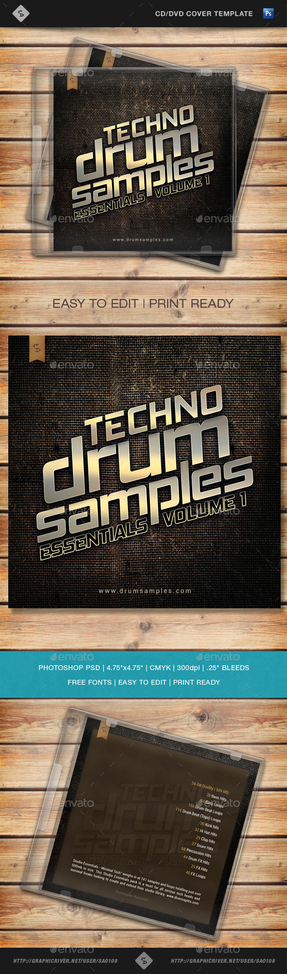 GraphicRiver Techno Drum Samples CD Cover Template 10735420