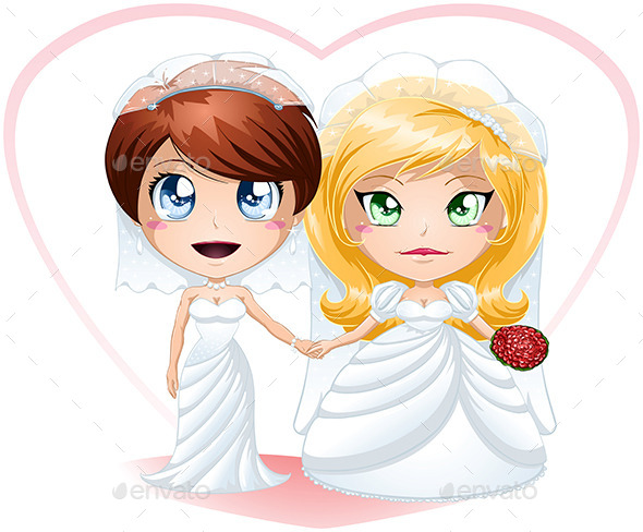GraphicRiver Lesbian Brides In Dresses Getting Married 10735435