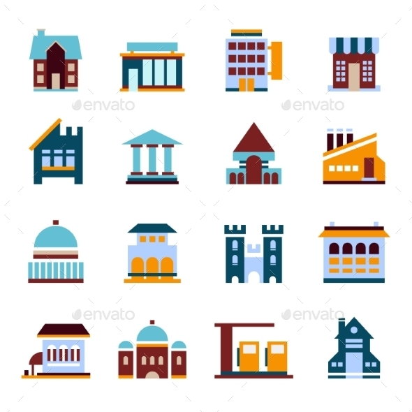 GraphicRiver Flat City Icons Vector Buildings 10735871