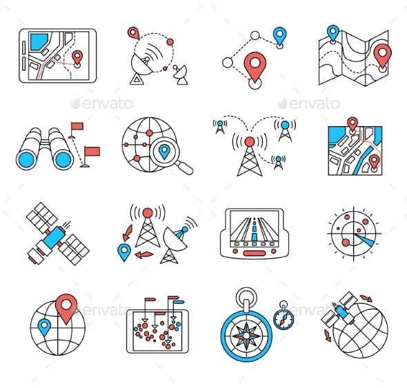 GraphicRiver Navigation and Geolocation Thin Flat Lines 10735937