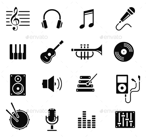 GraphicRiver Music and Multimedia Icons Vector 10736029