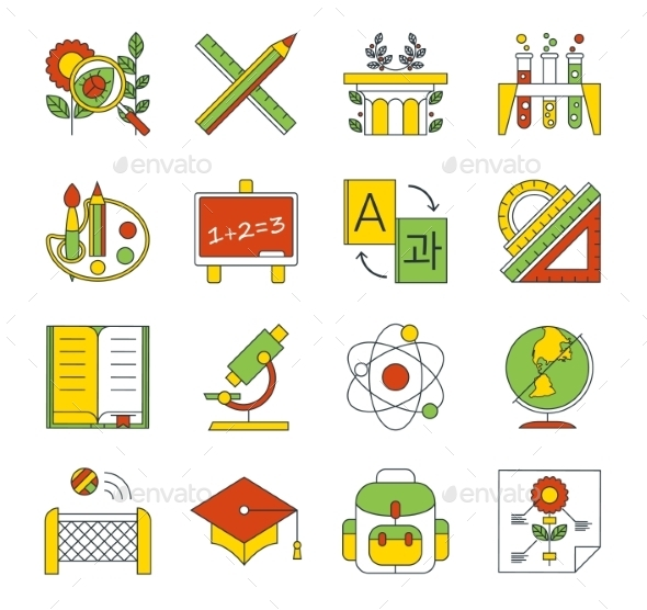GraphicRiver School Education Icons 10736034