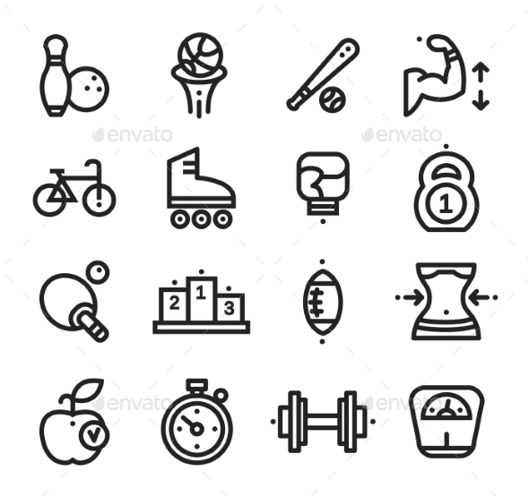 GraphicRiver Fitness and Health Sport Icons White Background 10736047