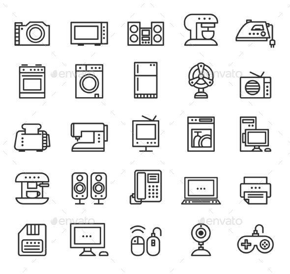 GraphicRiver Home Appliances and Equipment Icons Vector Modern 10736050