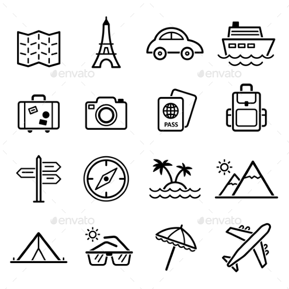 GraphicRiver Travel Symbols and Tourism Signs Vector 10736053