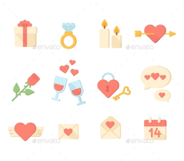 GraphicRiver Valentine Day Icons Elements Collection Vector Il 10736063