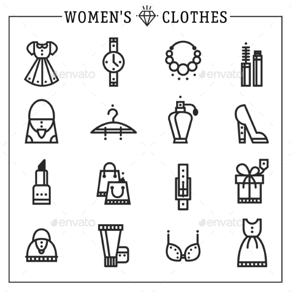 GraphicRiver Accessories Women Icons Vector Line 10736068