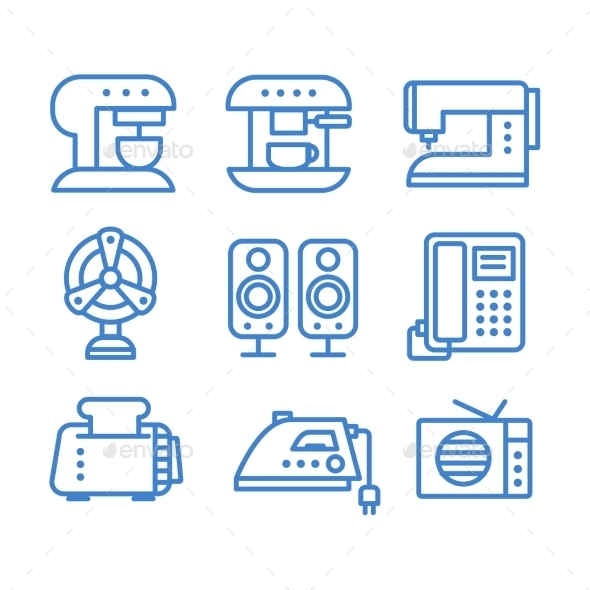 GraphicRiver Set of Household Appliances Icons 10736145