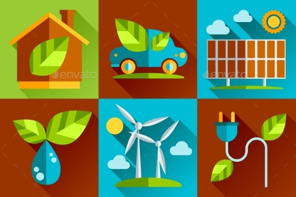 GraphicRiver Modern Vector Flat Design Conceptual Ecological Ic 10736146