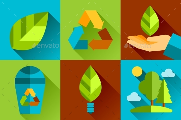 GraphicRiver Modern Vector Flat Design Conceptual Ecological Ic 10736150