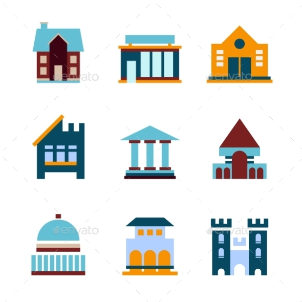 Building icon set abstract architecture miscellaneous icons for Architecture icon