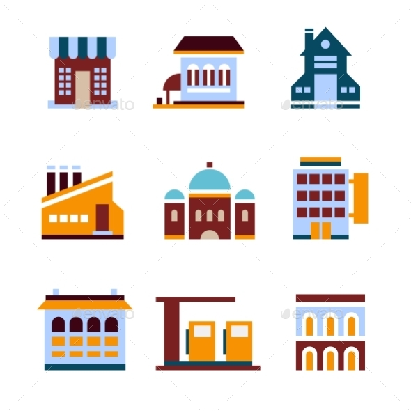 GraphicRiver Building Icon Set Abstract Architecture 10736161