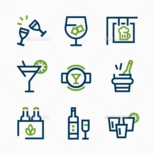 GraphicRiver Different Kind of Drink Icons Vector Icon Set 10736170