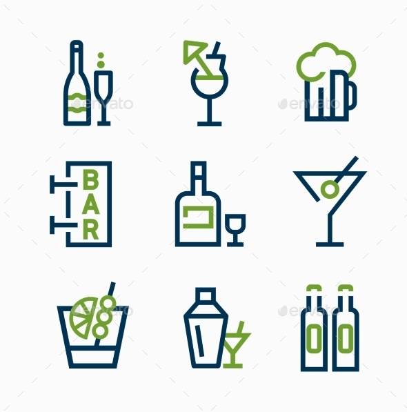 GraphicRiver Different Kind of Drink Icons Vector Icon Set 10736175