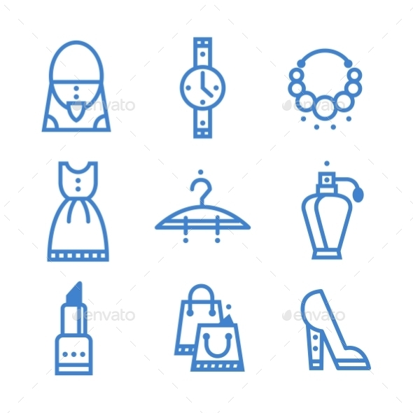 GraphicRiver Icons Set Woman Accessories 10736186