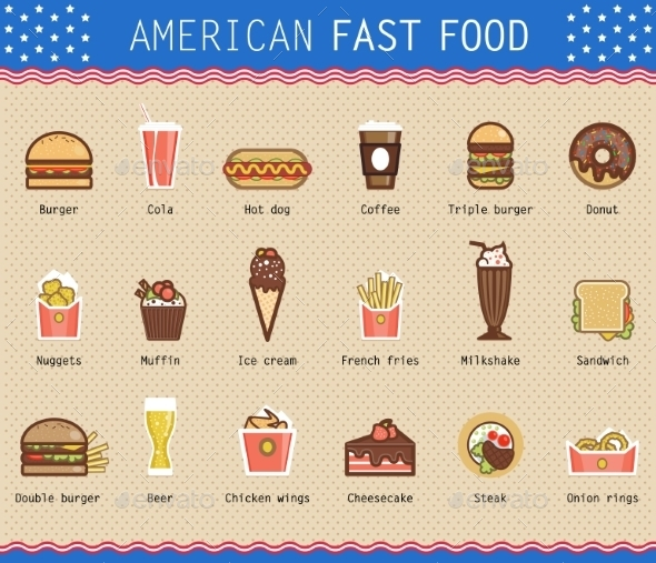 GraphicRiver Vector Illustration of Various Unhealthy American Food 10736197