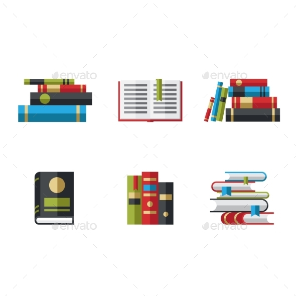 GraphicRiver Set of Book Icons in Flat Design Style 10736251