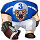 Blue White Football Player Kneels and Holds Ball - GraphicRiver Item for Sale