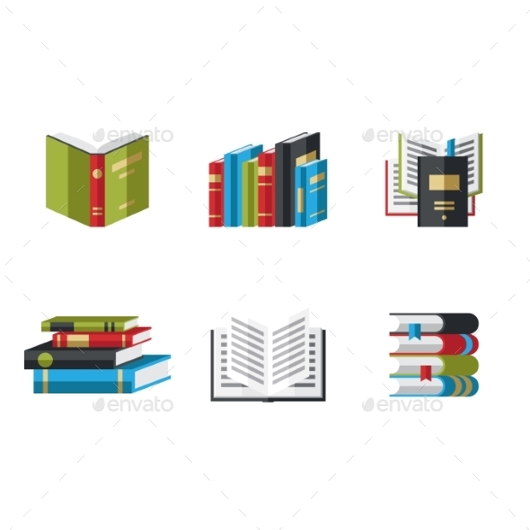 GraphicRiver Set of Book Icons in Flat Design Style 10736261