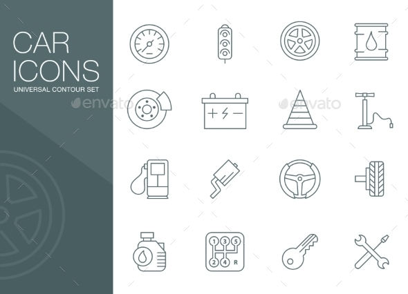GraphicRiver Auto Mechanic Related Icons Silhouettes 10736293